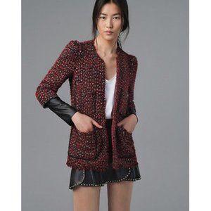 Zara Red Tweed Boucle & Leather Blazer Jacket
